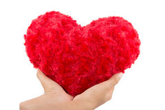 Red heart hold on hand Royalty Free Stock Images