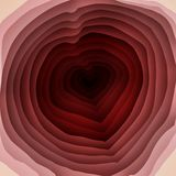 Red Heart and Hole in Multi-layer Background. The flat design of red heart and hole in multi-layer background stock illustration