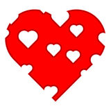 Red Heart with holes Vector Stock Photos