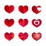 Red heart holiday abstract art icon decoration. Romance shape design. Love amour heart symbol Stock Photos