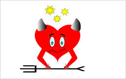 Red heart with horns on white background. Royalty Free Stock Images