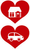 Red Heart with House and Car Illustration Royalty Free Stock Image