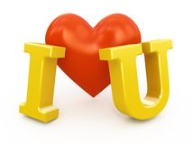 Red heart with I love you sign Royalty Free Stock Images