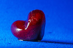Red heart of ice Stock Photography