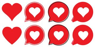 Red heart icon in flat style, heart in a red speech bubble, love icon. Valentines day icon, vector illustration stock illustration