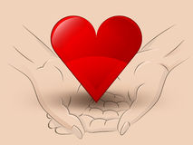 Red heart icon hold two human hands across vector Royalty Free Stock Photos