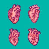 Red heart icon set, hand drawn style vector illustration