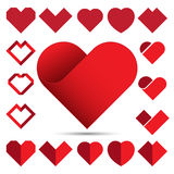 Red heart icon set . Royalty Free Stock Photos