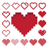 Red heart icon set . Royalty Free Stock Image
