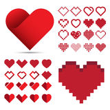 Red heart icon set Royalty Free Stock Images