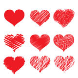 Red heart icon set. Set symbolize heart For design work Royalty Free Stock Image