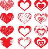 Red heart icon set2. Set symbolize heart For design work Royalty Free Stock Photo