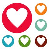 Red heart icons circle set vector. Isolated on white background Royalty Free Stock Photo