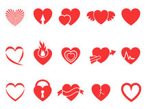 Red heart icons. Isolated red heart icons for Valentine's Day design Royalty Free Stock Photo