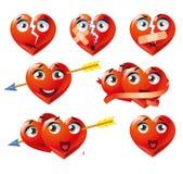 Hearts Emoji Emoticon Expression. Red heart icons set, emotion variation, emoji royalty free illustration