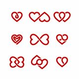 Red heart icons set. Valentines Day design elements, vector illustration Stock Illustration