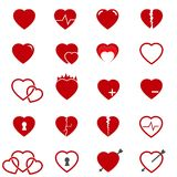 Red heart icons set vector. Red heart icons set on white vector Royalty Free Stock Photos