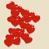 Red heart 02. Illustration of a lot of hearts lying on bright background Stock Photos