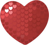 A red heart. Illustration patterned with hearts, isolated Royalty Free Stock Photos