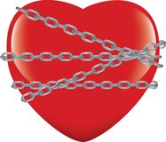 Red heart immobilized and chained.  Stock Image