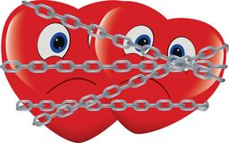 Red heart immobilized and chained.  Stock Photo