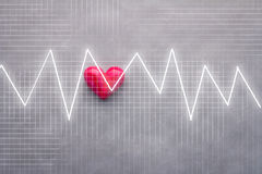 Red heart and impulse grapg analysis background Stock Photos