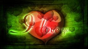 Red heart with inscription I love you and animated background for Valentine's. Day stock video