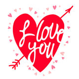 Red heart with the inscription I love you. Vector illustration on a white background Royalty Free Stock Photography