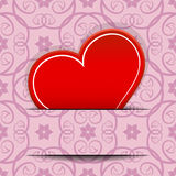 Red heart inserted in paper cut Royalty Free Stock Images