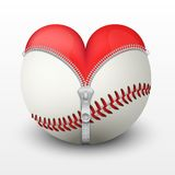 Red heart inside baseball ball Royalty Free Stock Photos