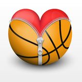 Red heart inside basketball ball Stock Images
