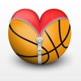 Red heart inside basketball ball Stock Images
