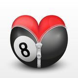 Red heart inside billiard ball Stock Photos