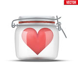 Red heart inside glass jar. Royalty Free Stock Photography