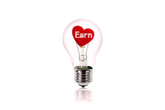 The Red Heart inside of the light bulb isolated on white. Stock Photos