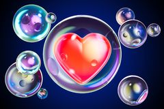 Red heart inside soap bubble, 3D. Rendering vector illustration