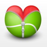 Red heart inside tennis ball Royalty Free Stock Photos