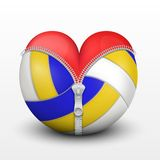 Red heart inside volleyball ball Stock Photo