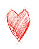 Red Heart isolated on white, sketching Stock Photos