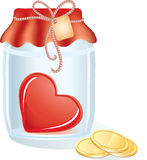 Red heart in the jar with coins. Red heart in the transparent jar with gold coins, rope and label Stock Photos
