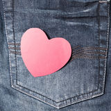 Red heart on jean Royalty Free Stock Image