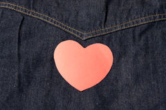 Red heart on jean Stock Photography
