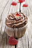 Red Heart Jelly Sweets And Chocolate Cupcakes Royalty Free Stock Image