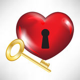 Red heart with key Stock Photo