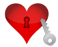 Red heart and key Royalty Free Stock Images