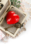 Red heart with key in box Royalty Free Stock Images