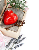 Red heart with key in retro box Royalty Free Stock Photography
