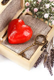 Red heart with key in retro box Royalty Free Stock Photos
