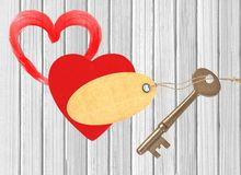 Red heart and key white wooden Stock Photo
