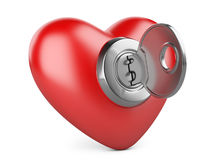 Red heart with a keyhole and key. Royalty Free Stock Image